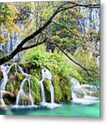 Waterfall In The Plitvice Lakes National Park Metal Print