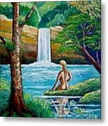 Waterfall Nymph Metal Print