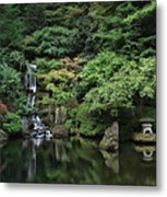 Waterfall - Portland Japanese Garden - Oregon Metal Print