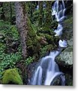 Waterfall Pouring Down Mountainside Metal Print