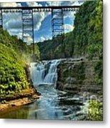 Waterfall Under The Bridge Metal Print