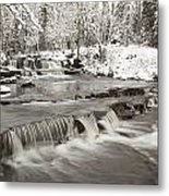 Waterfall With Fresh Snow Thunder Bay Metal Print by Susan Dykstra