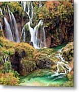 Waterfalls In Autumn Scenery Metal Print