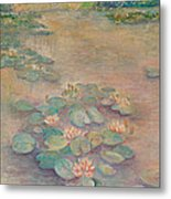 Waterlilies At Dusk Metal Print by Rita Bentley