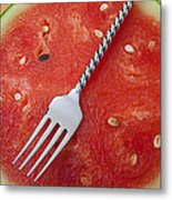 Watermelon And Fork Metal Print