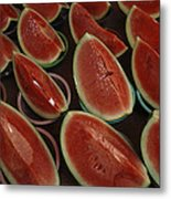 Watermelon Slices Sold At A Market Metal Print by Todd Gipstein