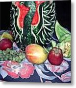Watermelon Swan Metal Print by Sally Weigand