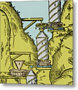 Watermill Reversed Archimedean Screw Metal Print