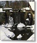 Waterwheel And Stream In Winter Metal Print