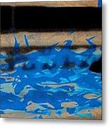 Waves - Siebdruck Kunst Silhouette Metal Print