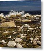 Waves Hitting Rocks, Anchor Brook Metal Print