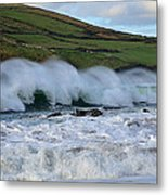 Waves In Dingle Metal Print by Barbara Walsh