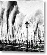 Waves Smashing Seawall, 1938 Metal Print