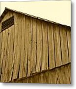 Weathered Barn II In Sepia Metal Print