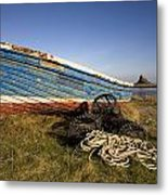 Weathered Fishing Boat On Shore, Holy Metal Print