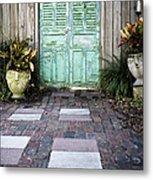 Weathered Green Door Metal Print by Sam Bloomberg-rissman