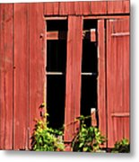 Weathered Red Barn Window Of New Jersey Metal Print