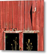 Weathered Red Barn Windows Of New Jersey Metal Print