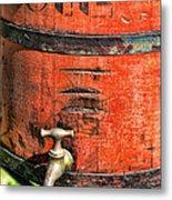 Weathered Red Oil Bucket Metal Print