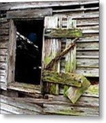 Weathered Wood Window Metal Print
