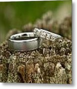 Wedding Bands And Fence Post 12 Metal Print