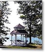 Wedding Gazebo By Lake Erie At Evangola State Park Metal Print