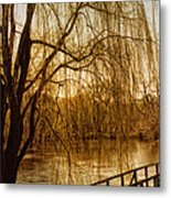 Weeping Willow And Bridge Metal Print