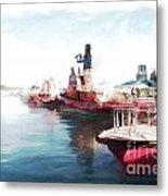 Wellington Harbour Tugs At Anchor Waterloo Quay Metal Print