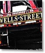 Wells Street Sign Metal Print