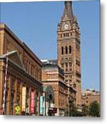 Wells Street Theater District And City Hall Metal Print