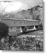 West Cornwall Connecticut Covered Bridge Black And White Metal Print