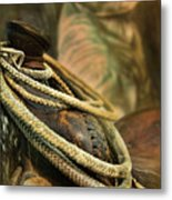 Western Style Saddle And Cowboy Metal Print