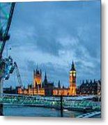 Westminster And The London Eye Metal Print