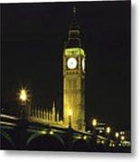 Westminster Bridge And Big Ben At Night, London Metal Print