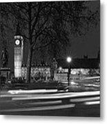 Westminster Night Traffic  Metal Print