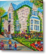 Westmount Birthday Party-montreal Urban Scene-little Girls Playing Metal Print