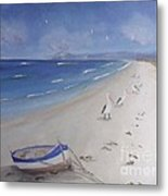 What's In The Boat Metal Print by Debra Piro