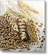 Wheat Ears And Grain Metal Print by Elena Elisseeva