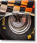 Wheel And Chequered Flag Metal Print
