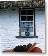 Wheelbarrow In Front Of A Window Of A Metal Print