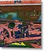 Wheels Of An Old Vintage Train Engine No.1026 Metal Print