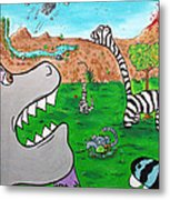 When Zebrasaurs Walked The Earth Metal Print