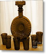Whiskey Decanter In Sepia Metal Print