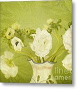 White Anemonies And Ranunculus On Green Metal Print