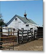 White Barn  And Corrals Metal Print