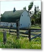 white barn in ND Metal Print