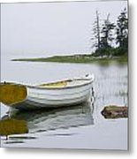 White Boat On A Misty Morning Metal Print
