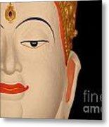 White Buddha Face Metal Print