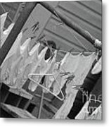 White  Cotton Laundry Blowing In The Wind Metal Print