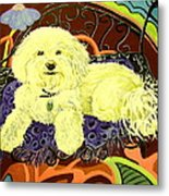 White Dog In Garden Metal Print